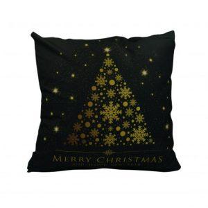 Karácsonyfa mintás karácsonyi párnahuzat - 45x45 - fekete-arany