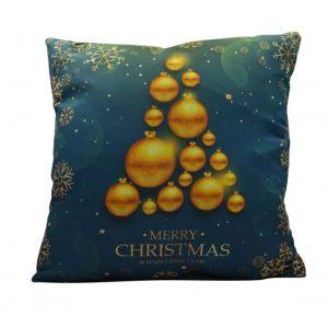 Karácsonyfa mintás karácsonyi párnahuzat - 45x45 - kék-arany