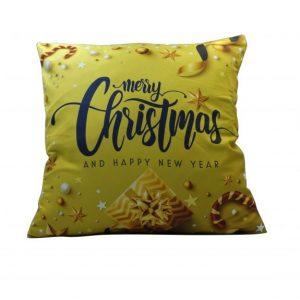 """""""Merry Christmas"""" karácsonyi párnahuzat - 45x45 - arany"""