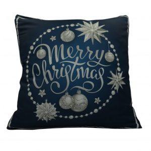 """""""Merry Christmas"""" karácsonyi párnahuzat - 45x45 - kék-ezüst"""