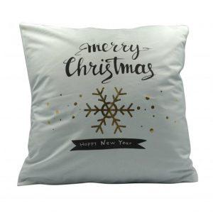 """""""Merry Christmas"""" karácsonyi párnahuzat - 45x45 - fehér-arany"""