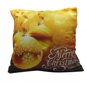 """""""Merry Christmas"""" gömbökkel karácsonyi párnahuzat - 45x45 - arany"""