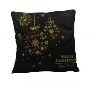 Karácsonyfa gömb mintás karácsonyi párnahuzat - 45x45 - fekete-arany