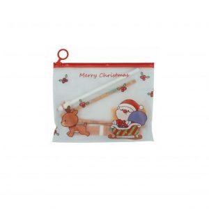 Karácsonyi mintás iskolai készlet, karácsonyi ceruzatartóban - 8 db-os, narancssárga