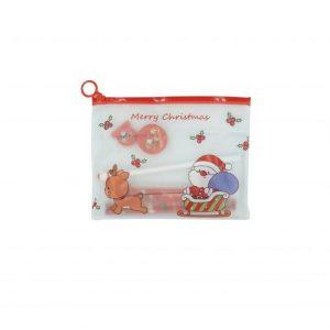 Karácsonyi mintás iskolai készlet, karácsonyi ceruzatartóban - 8 db-os, piros