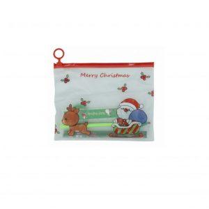 Karácsonyi mintás iskolai készlet, karácsonyi ceruzatartóban - 8 db-os, zöld