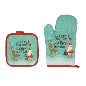 """""""Merry christmas"""" karácsonyi konyhai kesztyű és edényfogó"""