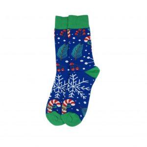 Karácsonyi mintás zokni - Kék-zöld