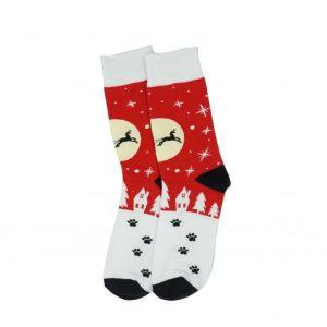 Karácsonyi mintás zokni - Piros-Mikulásos